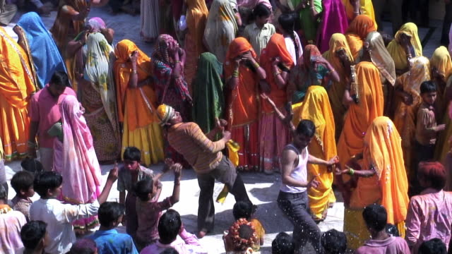 ms people celebrating holi in mathura temple / uttar pradesh, india / audio - temple body part stock videos and b-roll footage