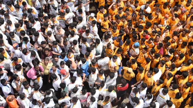 People celebrating Janmashtami , Dahi Handi,