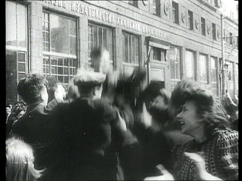 people celebrating ve day in moscow and greeeting soldiers returning on train/ moscow, russia/ audio - allied forces stock videos & royalty-free footage