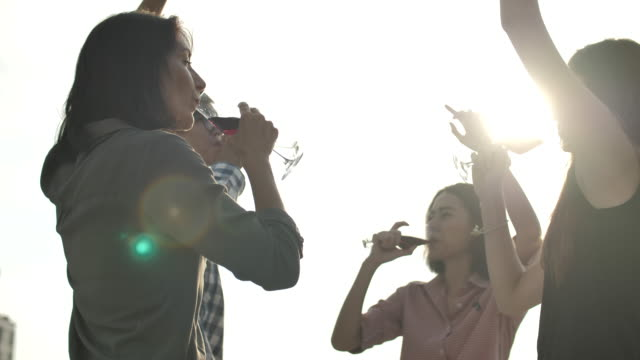 people celebration having fun and drinking wine at rooftop party - drink stock videos & royalty-free footage