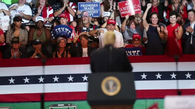 people cheer as president donald trump looks at them during a campaign rally at the hertz arena to help republican candidates running in the upcoming... - southwest florida stock videos & royalty-free footage