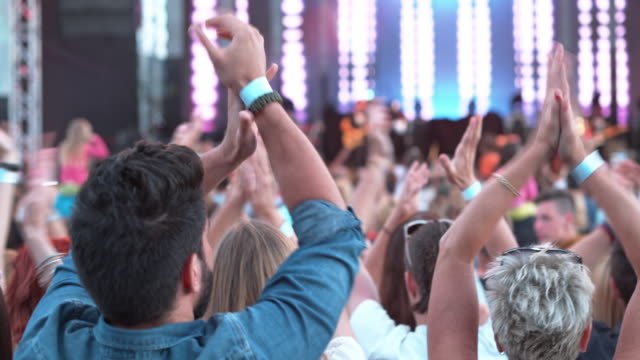 DS People clapping with raised hands at daytime concert
