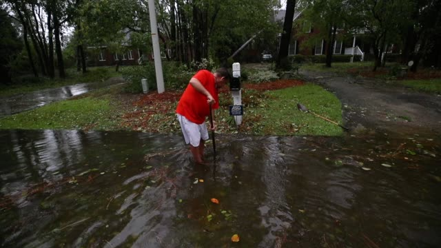 vídeos de stock, filmes e b-roll de people clean debris away from the storm drains after hurricane florence hit the area on september 14 2018 in wilmington north carolina hurricane... - ralo instalação doméstica