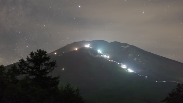 people climbing mt. fuji at night with flashlights as the milky way rising up in the night sky - electric torch stock videos & royalty-free footage