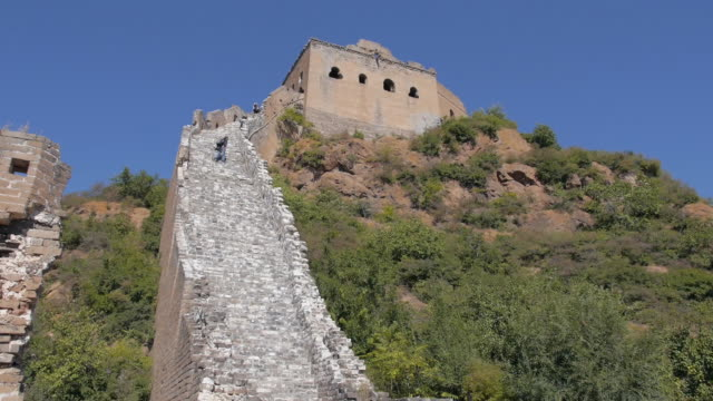 People Climbing up the Stairs of the Great Wall, Hebei, China