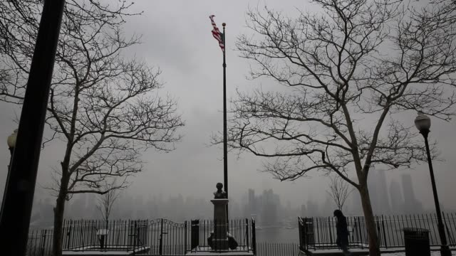 people commute new york new jersey during a winter snow storm on february 20 2019 in weehawken new jersey winter storm petra will continue to spread... - on the move stock videos & royalty-free footage
