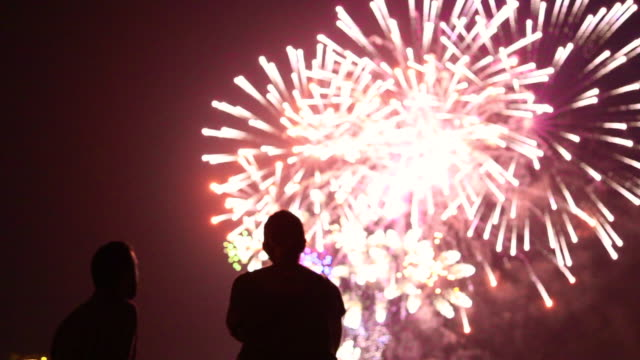 vídeos y material grabado en eventos de stock de people contemplating fireworks. - fuego artificial