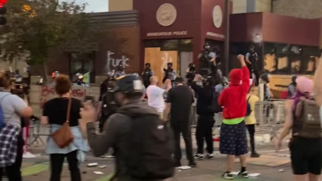 people continue the second day of protests in minneapolis on wednesday may 27 over the death of george floyd george floyd died in police custody in... - george floyd stock videos & royalty-free footage