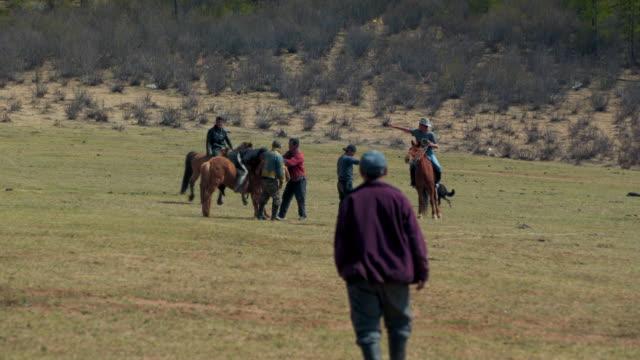 people controlling horse on land during sunny day - ulaanbaatar, mongolia - ulan bator stock videos & royalty-free footage