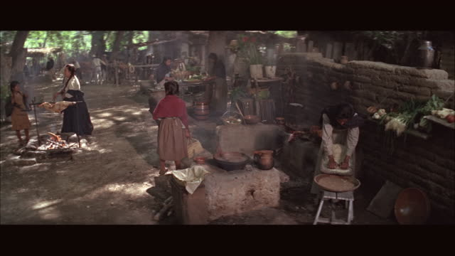 ms ha ds people cooking, doing laundry amongst trees - farm worker stock videos & royalty-free footage