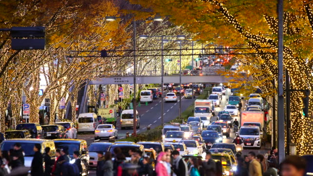 stockvideo's en b-roll-footage met people cross and cars go through among the illuminated tree lined omotesando street for winter holydays season while the dusk at jingumae, shibuya tokyo japan on december 06 2017. - uitzicht over stadje