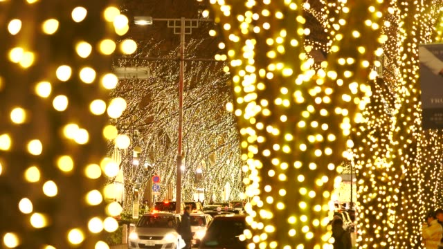 People cross and cars go through among the illuminated tree lined Omotesadndo Street in the night at Kitaaoyama, Minato Tokyo Japan on December 06 2017. Tree lined Omotesando Street is decorated and illuminated for winter holydays seasons.
