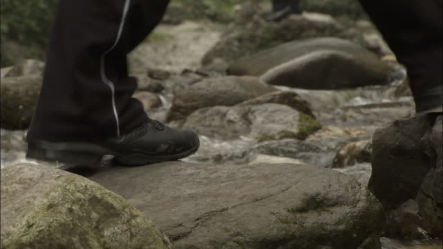 people cross river on stepping stones, mount emei, china - menschliche gliedmaßen stock-videos und b-roll-filmmaterial