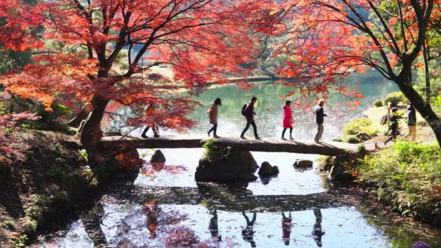People cross the Togetsukyo Bridge over the pond, which is surrounded by autumn leaves trees in Rikugien Garden (Traditional Japanese Garden) Bunkyo-ku Tokyo on December 03 2017. People and autumn trees reflect to pond.