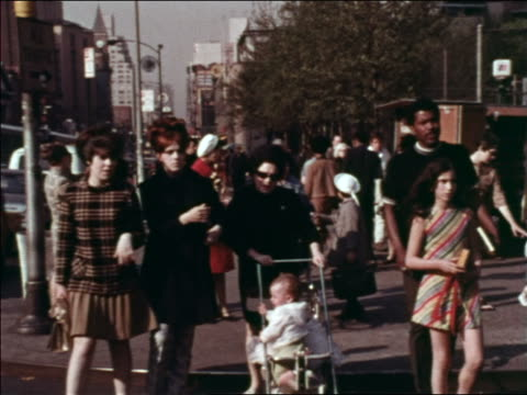 1969 people crossing busy city street / greenwich village, nyc / industrial - greenwich village stock videos & royalty-free footage
