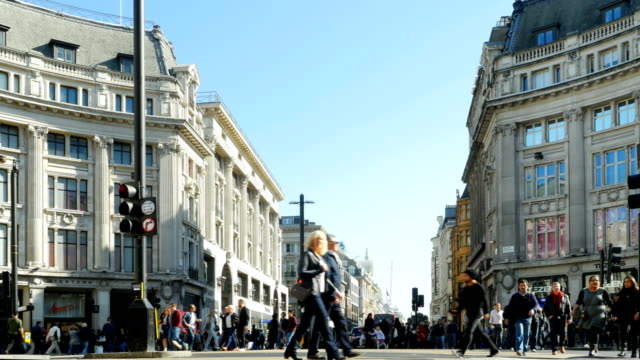 People Crossing Oxford Circus In London