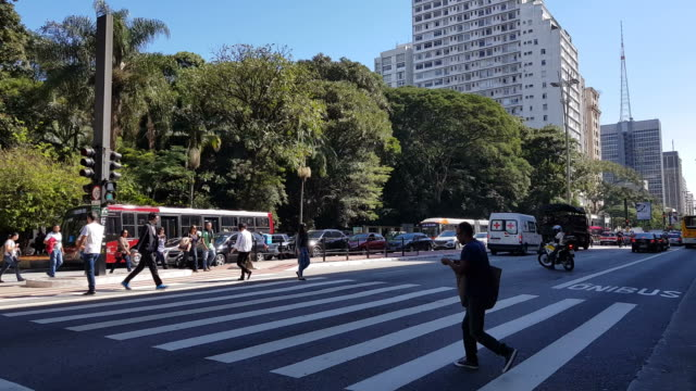 people crossing paulista avenue - avenue stock videos & royalty-free footage