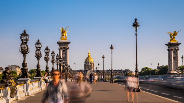 people crossing pont alexandre iii, tl, zi - pont alexandre iii stock videos & royalty-free footage