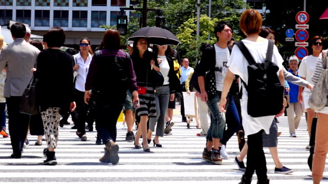 people crossing, shibuya, slow motion - large group of people stock videos & royalty-free footage