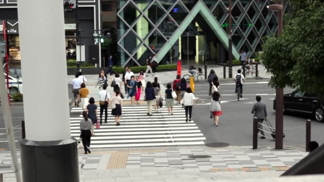 people crossing street in japan - organized group stock videos & royalty-free footage