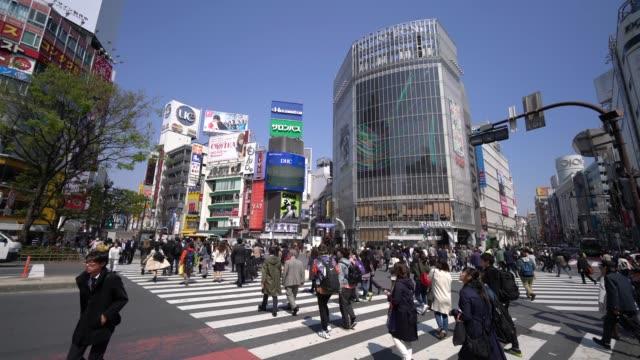 people crossing street shibuya crossing in japan - shibuya crossing stock videos & royalty-free footage
