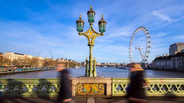 people crossing westminster bridge, tl, ms - westminster bridge stock videos & royalty-free footage