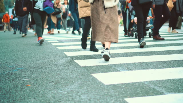 people crosswalk at shibuya - zebra crossing stock videos & royalty-free footage