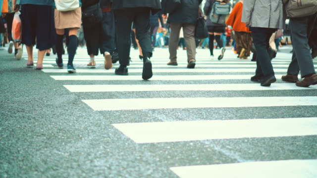 people crosswalk at shibuya - road junction stock videos & royalty-free footage