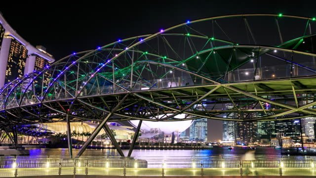 People Crowd at Pedestrian bridge in Singapore night