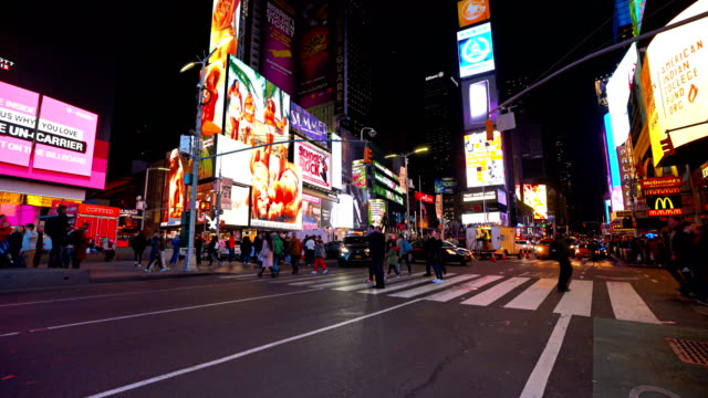 people crowd at time square - digital signage stock videos and b-roll footage