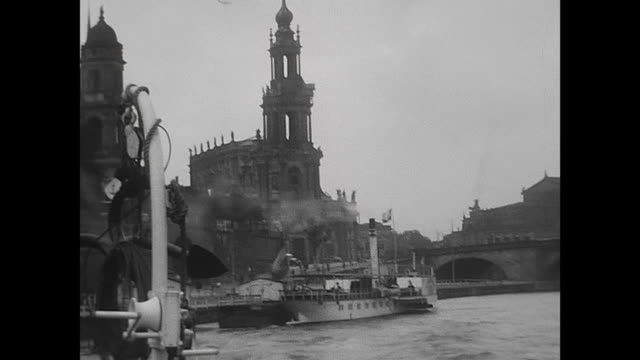 """people cruising with the famous paddle steamer from dresden to pillnitz, entering the boat """"leipzig"""", view to the old town of dresden with the famous... - dresden germany stock videos & royalty-free footage"""