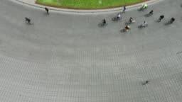 People cycling in the street. Mexico City.