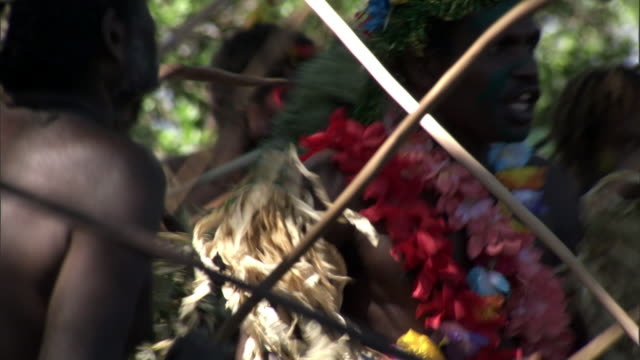people dance at tribal toka festival, tanna island, vanuatu - polynesian culture stock videos and b-roll footage
