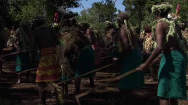 people dance at tribal toka festival, tanna island, vanuatu - polynesian culture stock videos & royalty-free footage