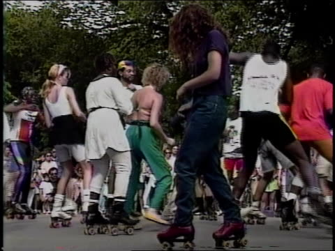 people dancing in roller skates in nyc park - 1990 stock videos & royalty-free footage