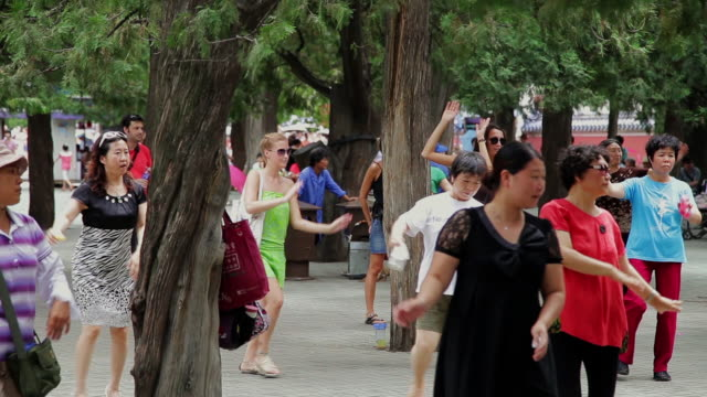 ms people dancing in temple of heaven park / beijing, china - temple of heaven stock videos & royalty-free footage
