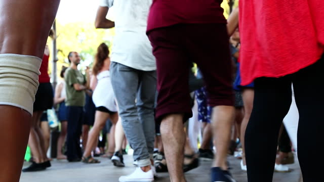 people dancing salsa on the barcelona streets. - salsa stock videos & royalty-free footage