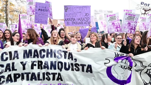 People demonstrate during International Women's Day at Cibeles Square on March 08 2019 in Madrid Spain Spain celebrates International Women's Day...