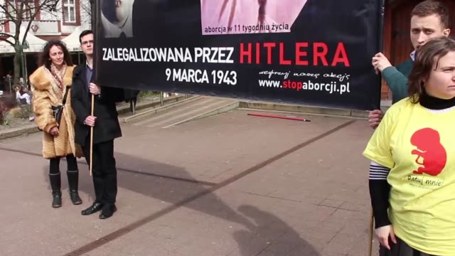 people demonstrate,in sopot, poland, on april 3, 2016 against plans of the law and justice government to totally ban abortion in poland even in... - polonia video stock e b–roll