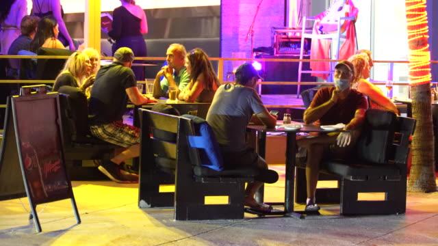 people dining outdoors at spazio italian restaurant on fort lauderdale beach boulevard on october 9 fort lauderdale florida restaurants continue to... - scott mcpartland stock videos & royalty-free footage