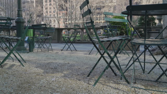 people disappear from bryant park, one of the most popular resting places in midtown manhattan because of the covid-19 outbreak. - bryant park stock videos & royalty-free footage