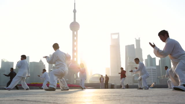 WS LA People doing early morning Tai Chi, Wu Shu on the Bund with Pearl Tower in background, Shanghai