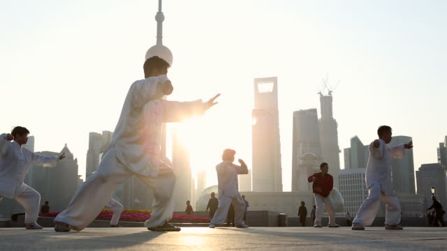MS LA People doing early morning Tai Chi, Wu Shu on the Bund with Pearl Tower in background, Shanghai