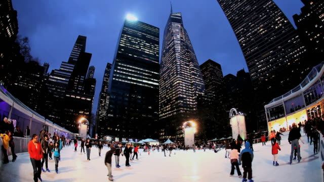 ms  people doing  ice skating rink in bryant park christmas / new york, united states - bryant park stock videos & royalty-free footage