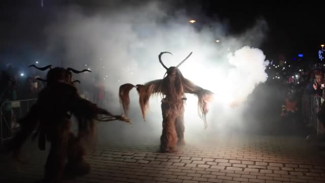 People dressed as Krampus take part in a parade during the annual Krampus gathering in Zidlochovice town of Czech Republic on November 26 2016