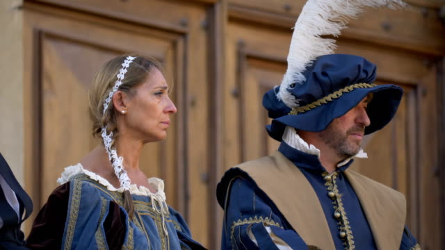 people dressed in ancient traditional costumes during a celebration on july 28th 2017, in arezzo - historical reenactment stock videos & royalty-free footage