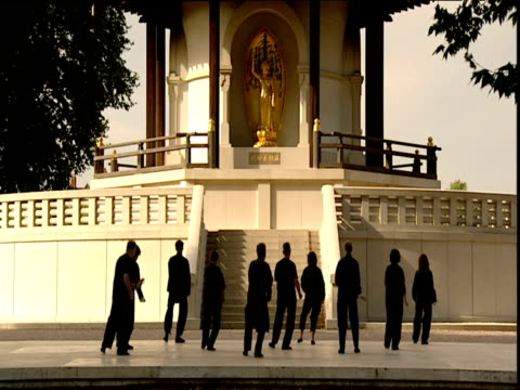 People dressed in black perform Tai Chi outside temple