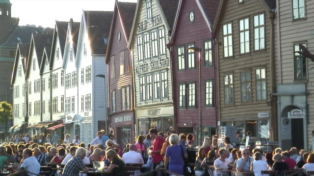 ms people drinking and relaxing in sidewalk cafes in bryggen / bergen, hordaland, norway - traditionally norwegian stock videos & royalty-free footage