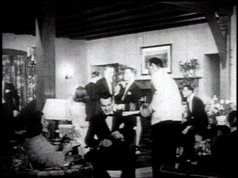 1934 MONTAGE People drinking at elegant house party and pub /
