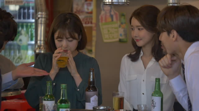 people drinking beer at a company get-together - korean ethnicity stock videos & royalty-free footage